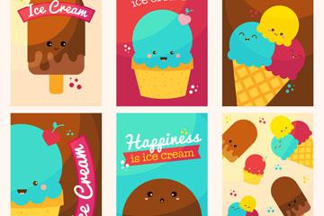 6款可爱表情雪糕卡片矢量素材