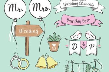 11款手绘婚礼装饰物矢量素材