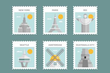 6款创意世界名胜邮票矢量素材