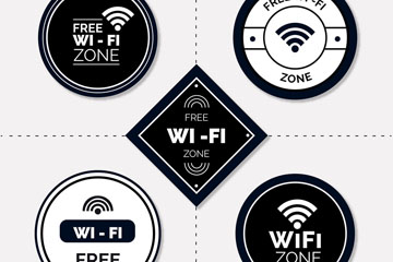 5款创意免费无线网贴纸矢量素材