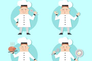 4款创意白衣服厨师动作矢量素材