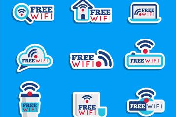 9款蓝色免费无线网贴纸矢量素材