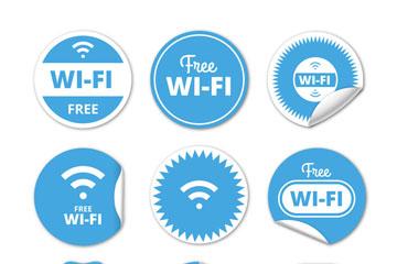 9款蓝色圆形免费无线网贴纸矢量图