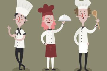 3款创意男女厨师矢量素材