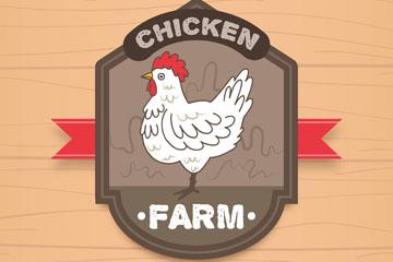 创意养鸡场白色公鸡标签矢量素材