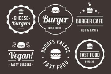 6款白色汉堡包标志矢量素材