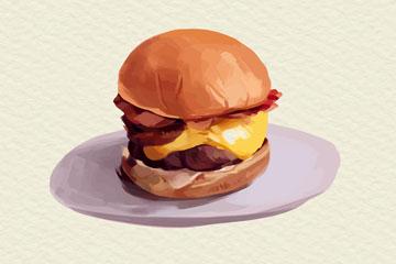 彩绘盘子里的美味汉堡包矢量素材