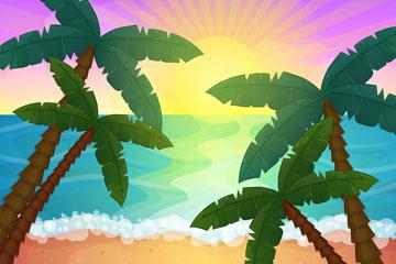 创意沙滩椰林和大海风景矢量素材