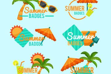 6款彩色夏季沙滩徽章矢量图