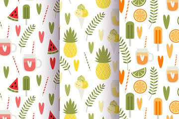 3款彩色夏季西瓜和饮料无缝背景