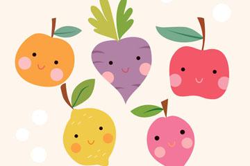 5款卡通笑脸水果矢量素材