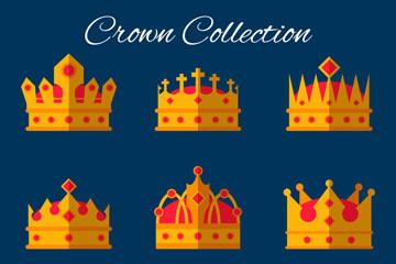 9款扁平化王冠设计矢量图