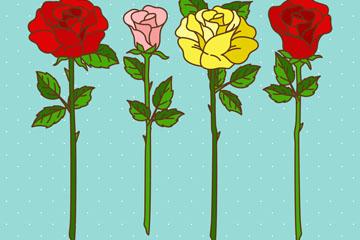 4款彩色玫瑰花花枝矢量素材
