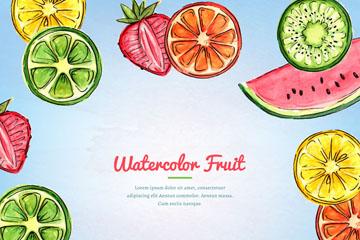 水彩绘水果切片框架设计矢量素材