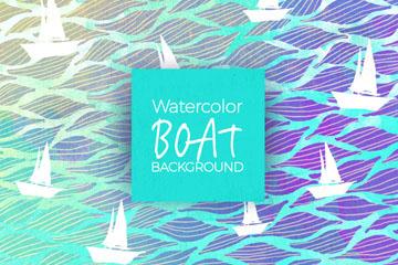 水彩绘海上白色帆船无缝背景矢量图
