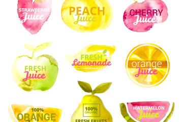 9款水彩绘水果汁标签矢量图