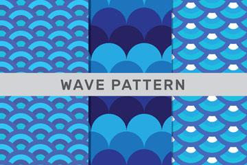 3款蓝色半圆形海浪花纹无缝背景
