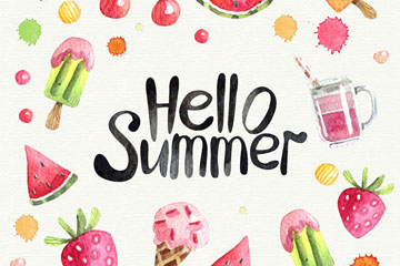 水彩绘夏季食物框架矢量素材