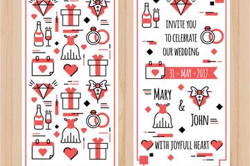 彩绘婚礼邀请卡正反面矢量素材