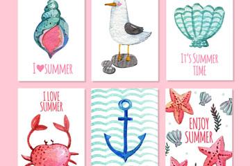 6款水彩绘夏季元素卡片矢量素材