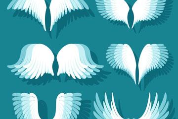 6款白色翅膀设计矢量图