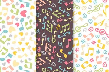 3款创意音符和爱心无缝背景矢量素材