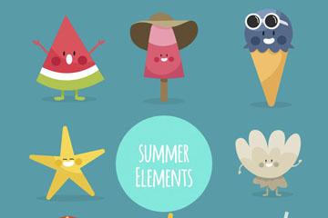 8款可爱夏季表情物品矢量素材