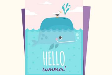 彩色夏季鲸鱼卡片矢量素材