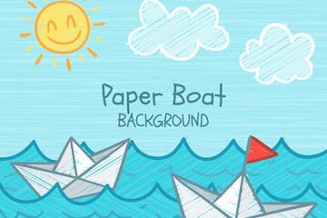 彩绘大海里的纸船矢量素材