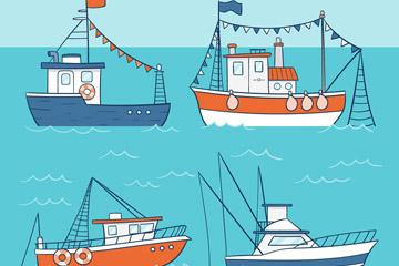 4款彩绘渔船设计矢量素材