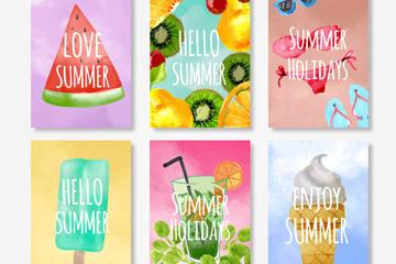 6款水彩绘夏季食物卡片矢量素材