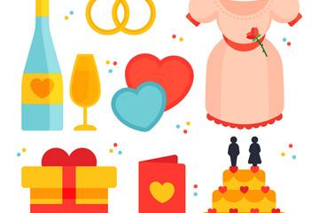 8款彩色扁平化婚礼元素矢量素材