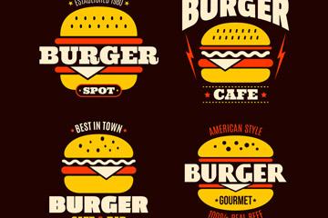 4款彩色汉堡包店标志矢量素材