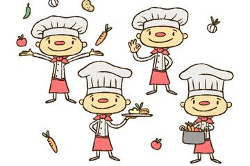 4款彩绘红鼻子厨师矢量素材