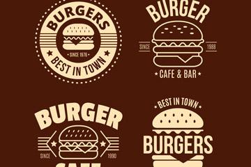 4款创意汉堡包标志设计矢量图