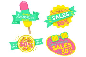 4款彩色夏季半价促销标签矢量图