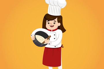 卡通女厨师设计矢量素材