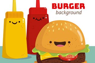卡通笑脸汉堡包和调味酱矢量图