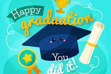 卡通笑脸博士帽和毕业证矢量图