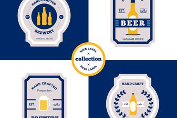 4款创意蓝边啤酒标签矢量素材
