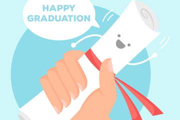卡通握笑脸毕业证书的手臂矢量图
