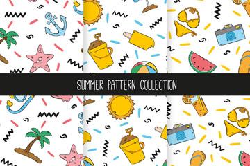 3款彩绘夏季度假物品无缝背景矢量图