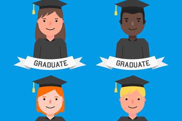 4款创意毕业生半身像矢量素材