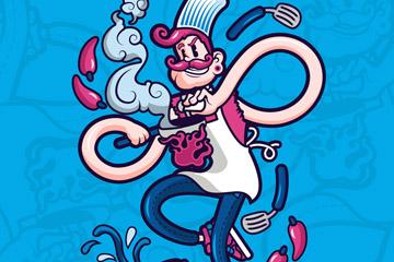 创意时尚烹饪中的厨师矢量素材