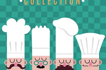 创意4个男厨师头像矢量梦之城娱乐