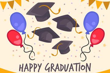 彩色毕业典礼气球和博士帽矢量素