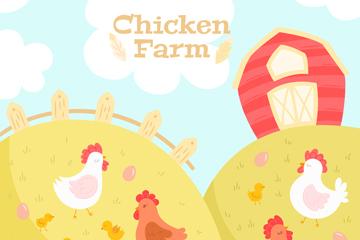 彩绘山坡上的养鸡场矢量素材