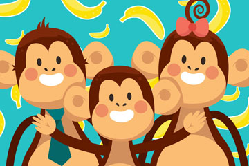 卡通猴子三口之家矢量素材