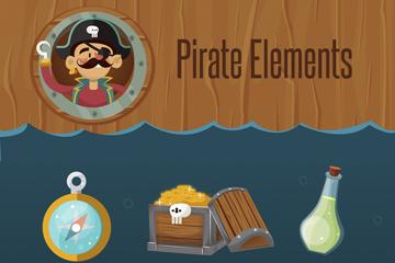 10款卡通海盗元素矢量素材
