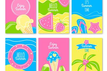 6款彩绘夏季元素卡片矢量素材
